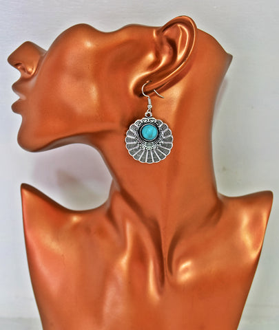 ER103 Trendy silver flower turquoise beading earrings