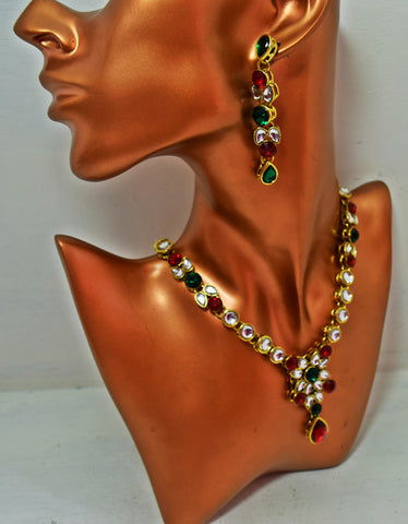 BN10 Multicoloured Kundan necklace