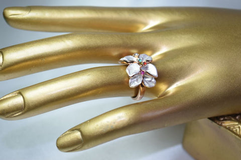 RG33E White enamel rose  gold plated  flower ring