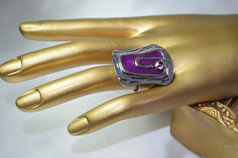 RG27P funky coloured enamel rhinestone ring