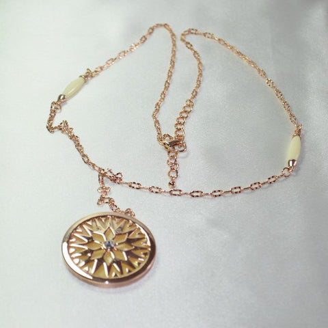 LV3  Timeless Rose gold plated crystal Necklace