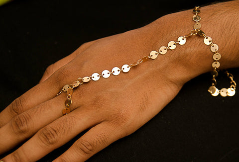 BR62 Gold colour sequin chain bracelet