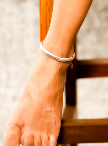 AN7S Silver flat chain Anklet