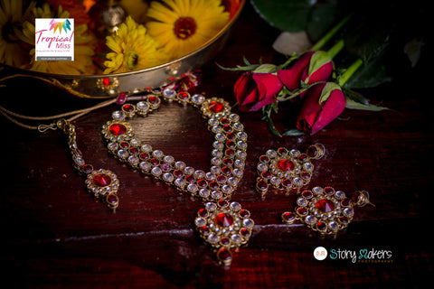 BN14 Magnificent red and gold Kundan necklace