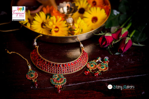 BN32R  Fiery red Polki necklace set