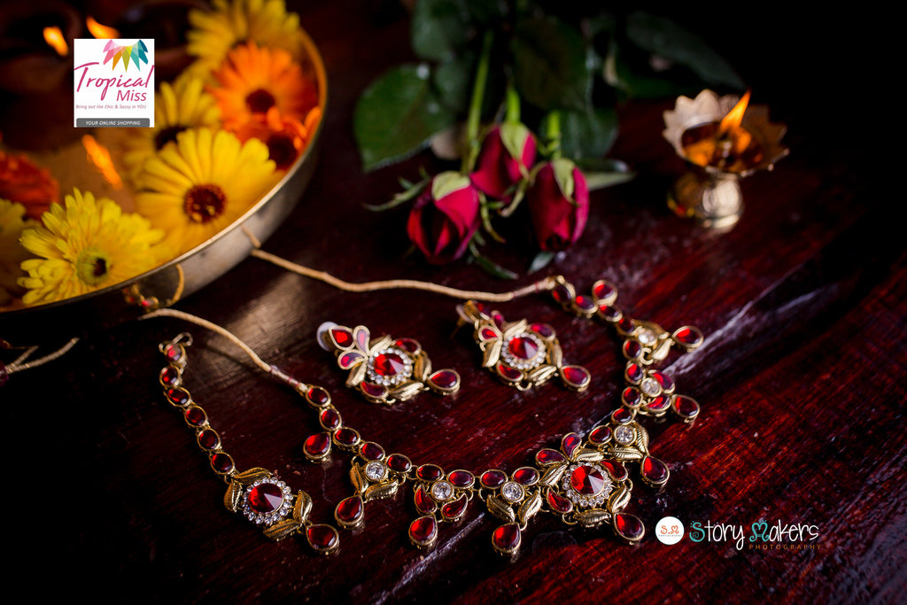 BN12 Gorgeous Gold and Red Kundan necklace