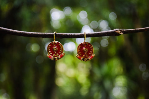 ER92 Trendy Red Enamel Beads Earrings