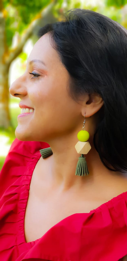 ER122 Square & Round Deep Green Swede Tassel  Earrings