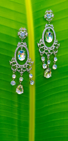ER119 Simply Gorgeous Long Silver Drop Earrings