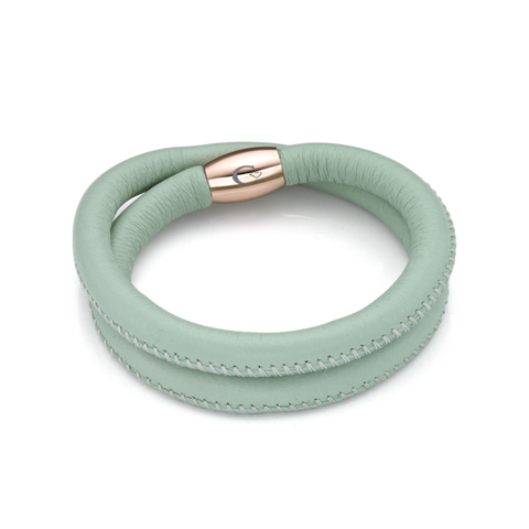 LSWABEPM Mint Leather Double Row Bracelet