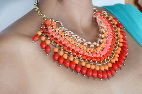 JE244 Orange and Red amazing statement necklace