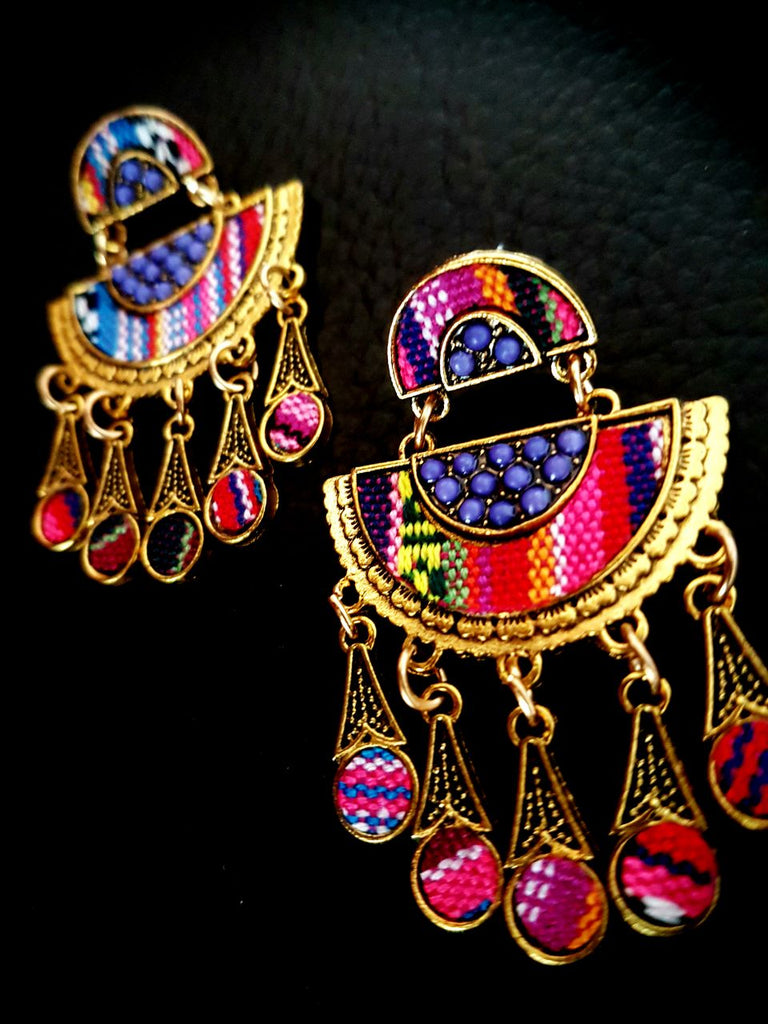ER107P Trendy Multicoloured printed tassel earring