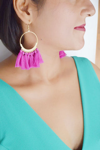 ER105F Trendy  Fuschia Tassel Earrings