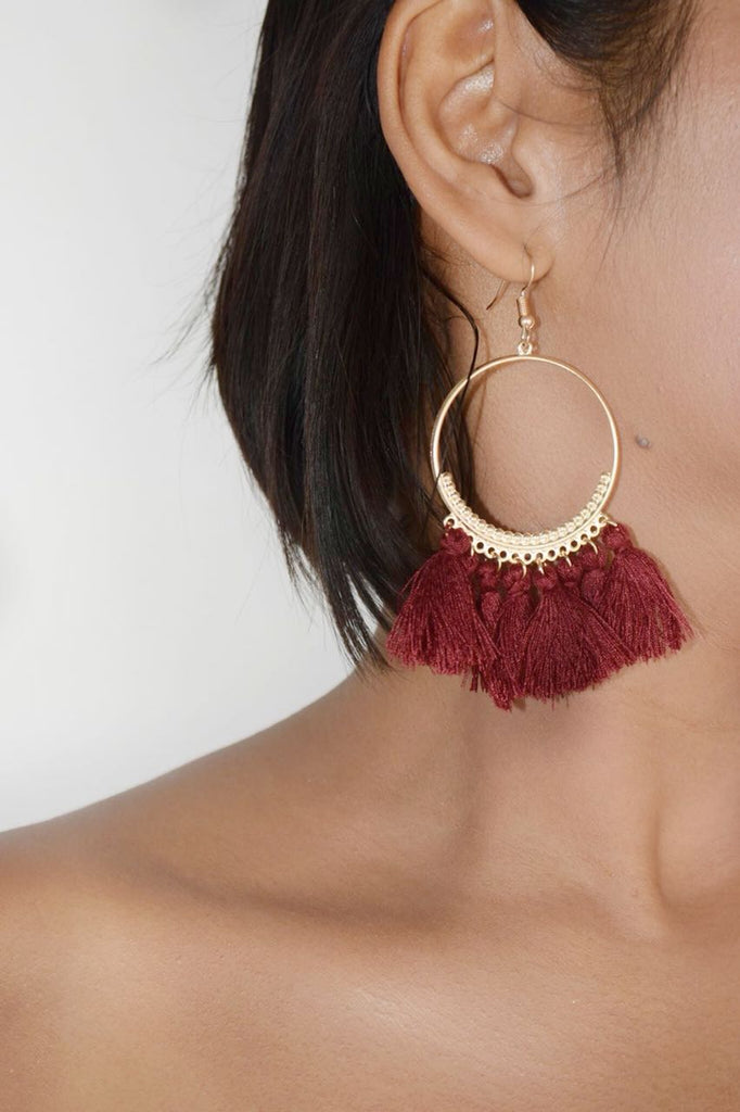 ER105R Trendy  Deep Red Tassel Earrings