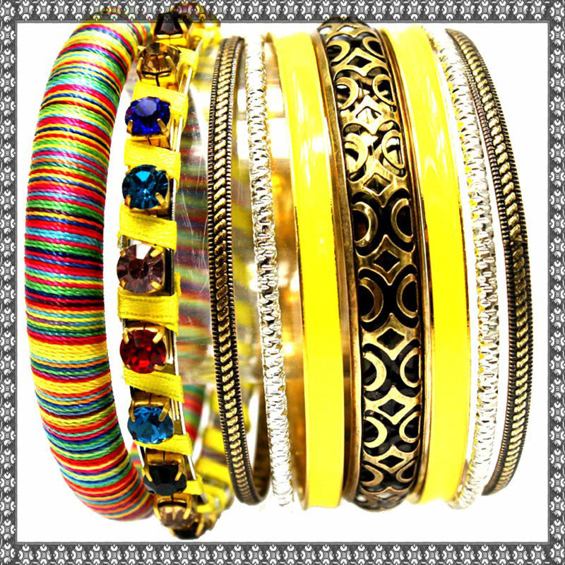 BR61Y Gorgeous Bright Yellow Indian Style Bangle set