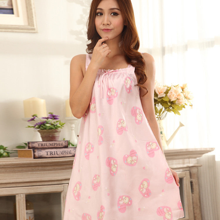 SG2  Silk Satin pink sleepwear nightgown