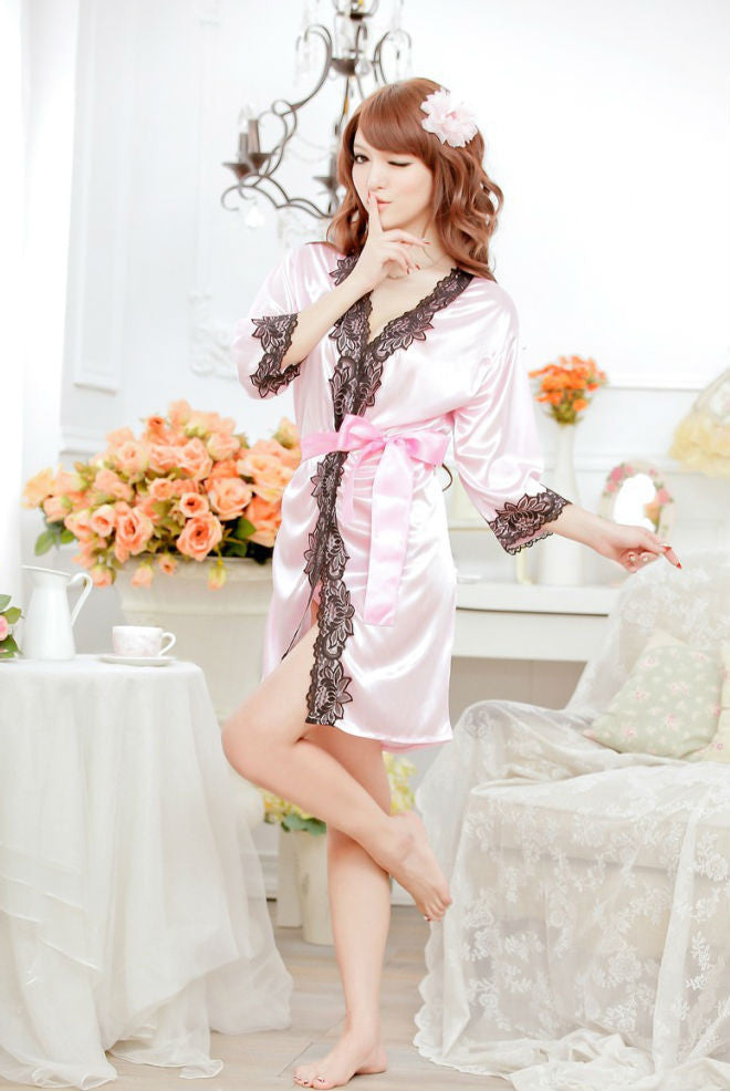 SG10PK Low Cut Pajamas Lace Nightgown