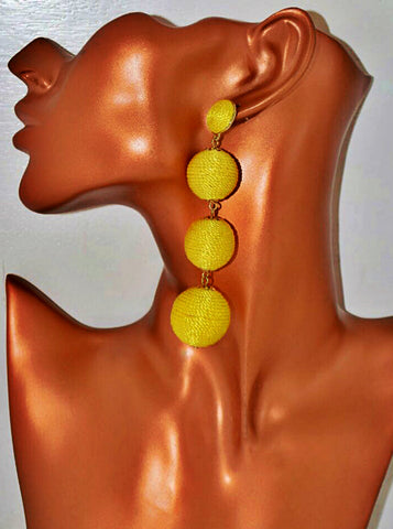 ER106 Gorgeous Yellow Pom Pom Earrings