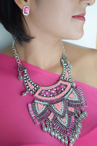 JE241 Gorgeous pink Rhinestone statement necklace set