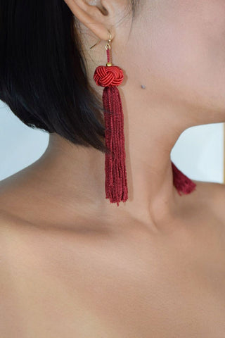 ER104 Burgundy Long Knot Tassel Earrings