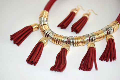 JE245R Elegant Deep Red Leather Tassle Necklace Set