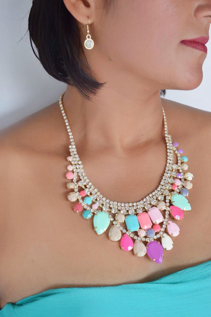 JE240 Multicoloured Choker Sequin Necklace Set