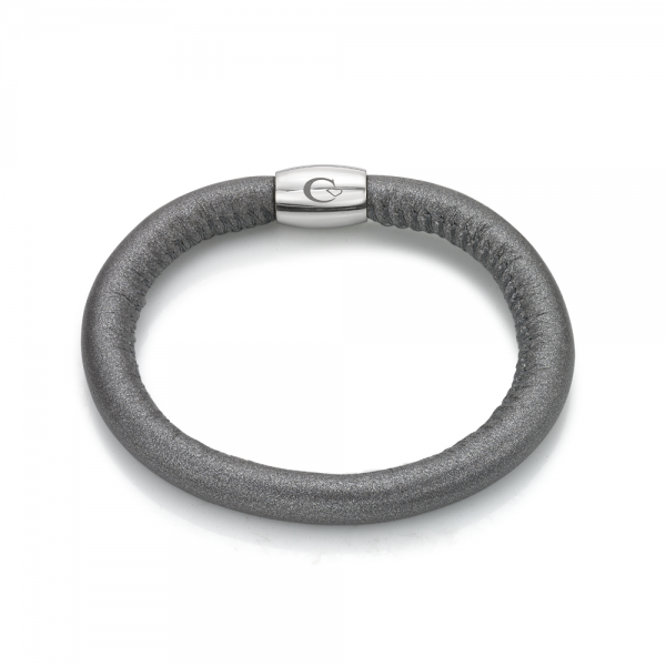 LSWAMSWS Metallic Dark Grey  Leather Bracelet