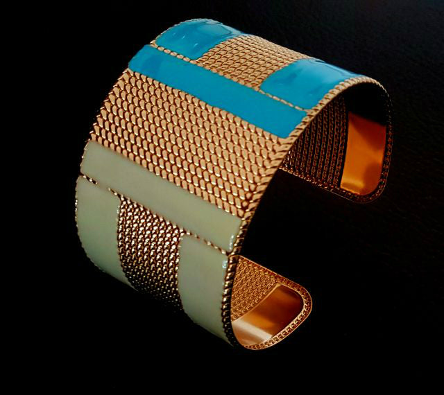 BR28BLW Cuff bangle with colourful enamel bracelet