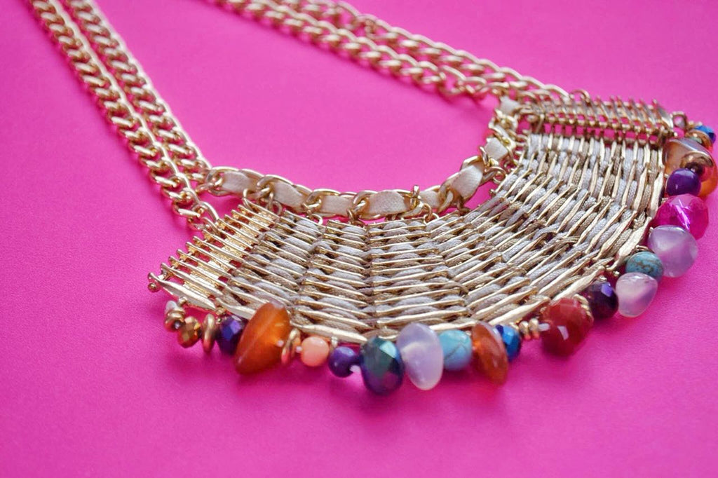 JE238  Luxury Colourful Rhinestone Bib Necklace