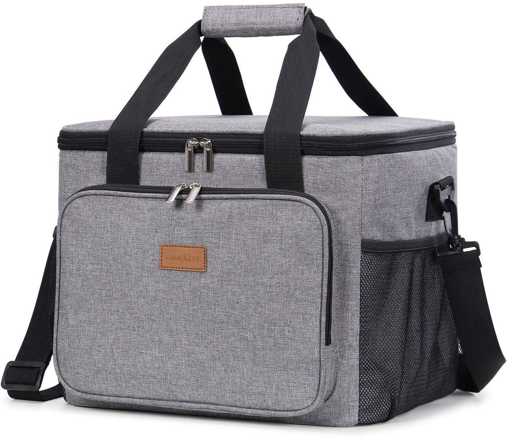 Lifewit 40-Can Large Insulated Lunch Bag Box Soft Cooler, Gray
