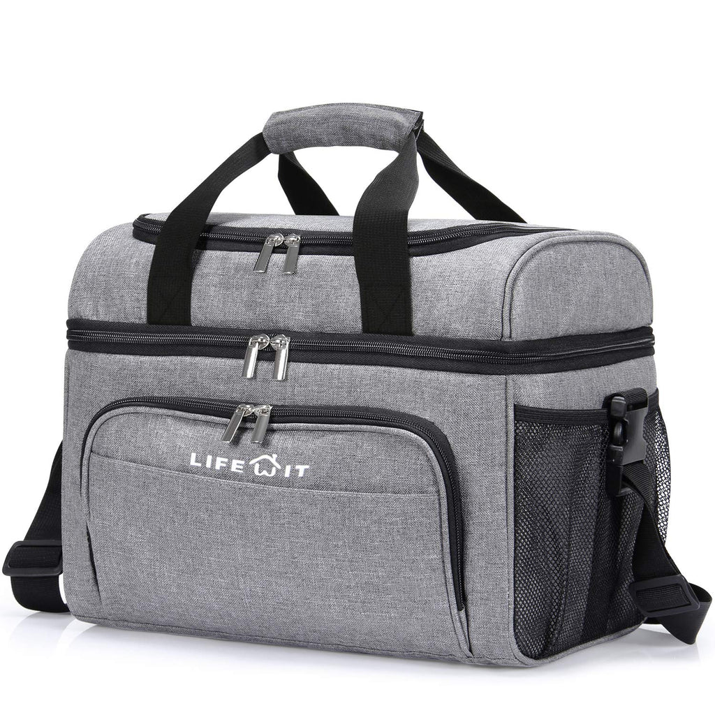 Lifewit 23L Double Decker Insulated  Cooler Bag, Gray
