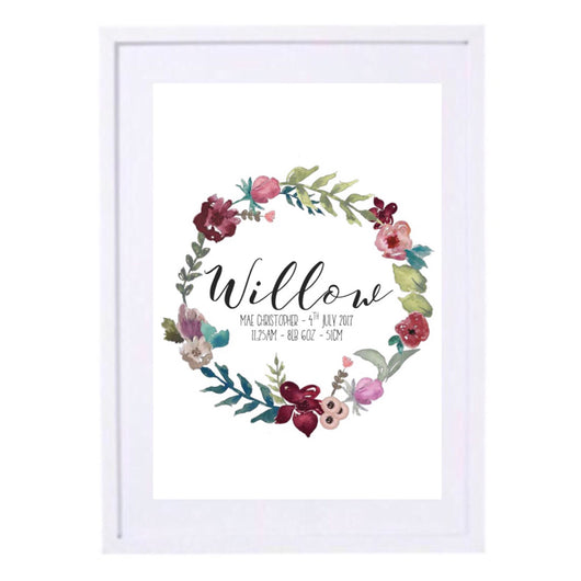 FLORAL WREATH BIRTH PRINT - BURGUNDY