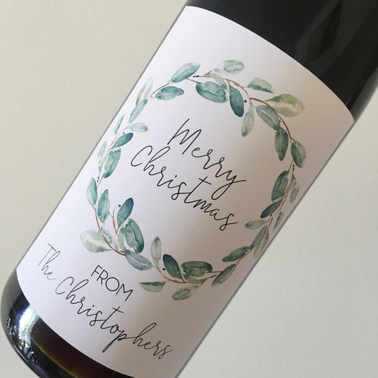 Personalised Christmas WINE/ALCOHOL LABEL