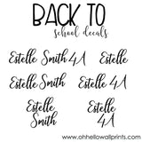 NEW! BACK TO SCHOOL Vinyl Name Decal