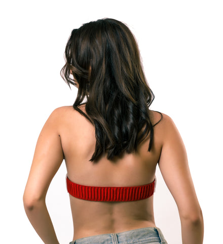 Red Ruched Elastic Back