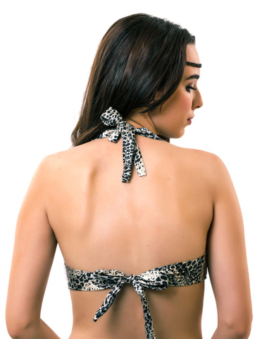 The Tie Up Back - Grey Leopard Print