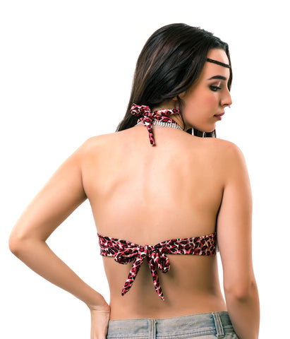 The Tie Up Back - Pink Animal Print