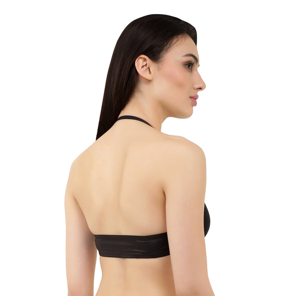 Black Faux Leather | Switcher Bra + Detachable Back