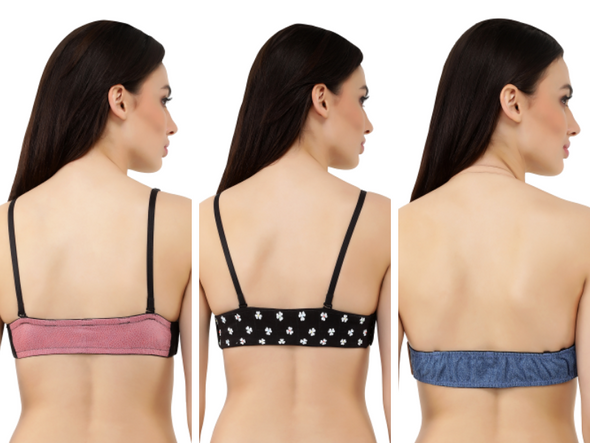 Mix-Match Set of 3 | Switcher Bra + 3 Detachable Backs  (1 Hand Beaded, 1 Faux Leather, 1 Denim)