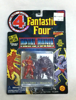 1995 Marvel Fantastic 4 Metal Mania Diecast Human Tourch V Dragon Man Figure Set