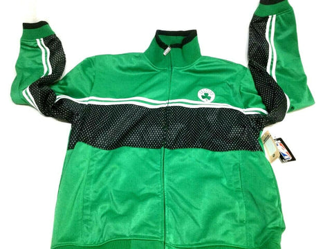 New Official NBA Boston Celtics Green Warm Up Jacket Coat Size Mens XLarge