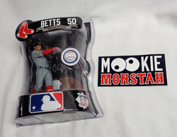 MLB Imports Dragon Boston Red Sox Mookie Betts Away Jersey Figure & Sticker Lot