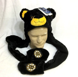 NEW Boston Bruins Blades the Bear Mascot Thematic Knit Plush Hat Cap Mittens
