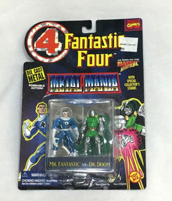1995 Marvel Fantastic 4 Metal Mania Diecast Mr Fantastic Dr Doom Figure Set MOC