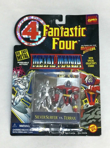 1995 Marvel Fantastic 4 Metal Mania Diecast Silver Surfer vs Terrex Figure Set