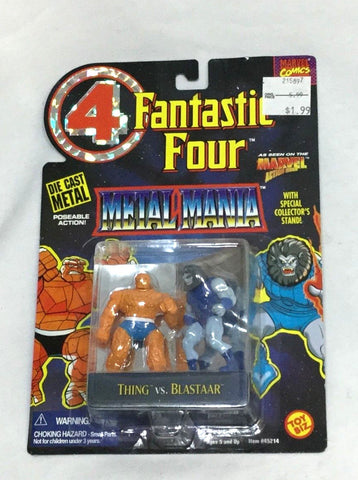 1995 Marvel Fantastic 4 Metal Mania Diecast Thing Vs Blastaar Figure MOC Sealed
