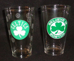 NBA Celtics Pint Glass Set Believe in Boston Shamrock Beer Bar 2 Pieces FREESHIP