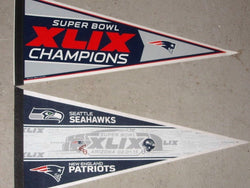 2014 Superbowl 49 World Champions New England Patriots & Duel 2 Pennant Lot