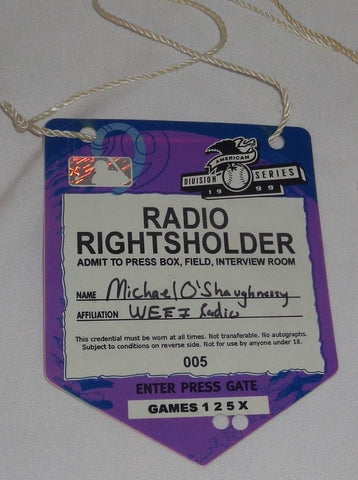 1999 ALDS Boston Red Sox Cleveland Indians Fenway Park WEEI Radio Press Pass