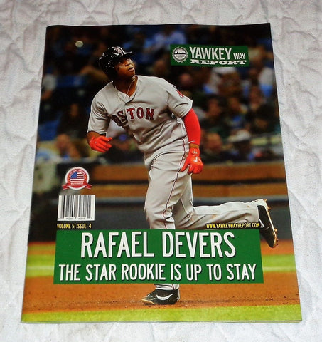 August 2017 Yawkey Way Report Red Sox Program Magazine Rafael Devers 1st Cover